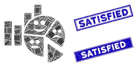 Mosaic emotion charts pictogram and rectangular Satisfied stamps. Flat vector emotion charts mosaic pictogram of randomized rotated rectangular elements. Ilustração