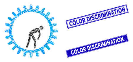 Mosaic rat race gear pictogram and rectangle Color Discrimination watermarks. Flat vector rat race gear mosaic pictogram of scattered rotated rectangle elements.