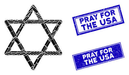 Mosaic star of David pictogram and rectangular Pray for the USA seals. Flat vector star of David mosaic pictogram of scattered rotated rectangular items.