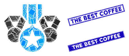 Mosaic military awards pictogram and rectangle The Best Coffee seals. Flat vector military awards mosaic icon of randomized rotated rectangle elements. Blue The Best Coffee seals with dirty textures.