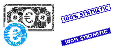Mosaic Euro cash money pictogram and rectangular 100% Synthetic watermarks. Flat vector Euro cash money mosaic pictogram of random rotated rectangular items.