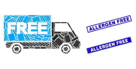 Mosaic free shipment van icon and rectangular Allergen Free rubber prints. Flat vector free shipment van mosaic icon of scattered rotated rectangular items.