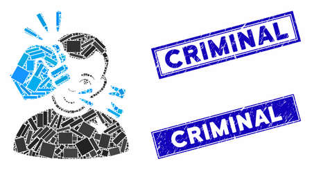 Mosaic head strike icon and rectangular Criminal stamps. Flat vector head strike mosaic icon of randomized rotated rectangular elements. Blue Criminal stamps with scratched texture.