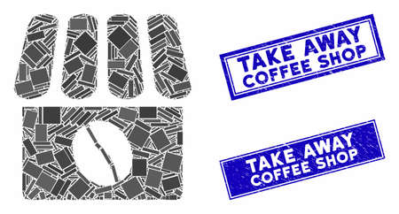 Mosaic coffee shop pictogram and rectangle Take Away Coffee Shop seal stamps. Flat vector coffee shop mosaic pictogram of scattered rotated rectangle elements.