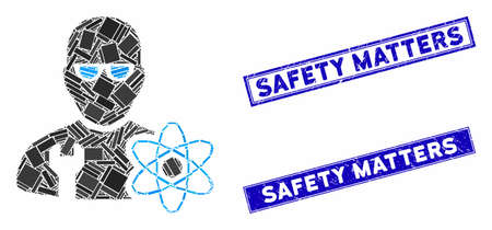 Mosaic power engineer icon and rectangular Safety Matters stamps. Flat vector power engineer mosaic icon of scattered rotated rectangular items. Blue Safety Matters seal stamps with scratched texture.