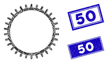 Mosaic tooth gear icon and rectangle 50 stamps. Flat vector tooth gear mosaic icon of scattered rotated rectangle elements. Blue 50 rubber stamps with distress surface. Ilustracja