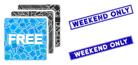Mosaic free items icon and rectangular Weekend Only seals. Flat vector free items mosaic icon of randomized rotated rectangular items. Blue Weekend Only seals with distress surface.