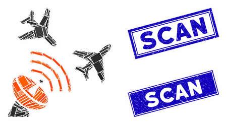 Mosaic flight radar pictogram and rectangular Scan seals. Flat vector flight radar mosaic pictogram of random rotated rectangle elements. Blue Scan seals with scratched texture.