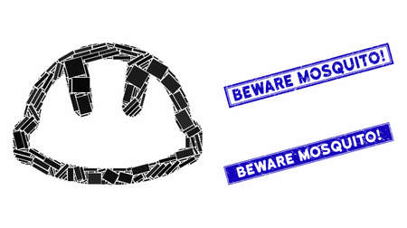 Mosaic hardhat icon and rectangle Beware Mosquito! stamps. Flat vector hardhat mosaic pictogram of randomized rotated rectangle items. Blue Beware Mosquito! rubber stamps with rubber surface.