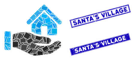 Mosaic real estate offer hand pictogram and rectangular SantaS Village seal stamps. Flat vector real estate offer hand mosaic pictogram of randomized rotated rectangular items.