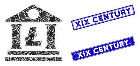 Mosaic Litecoin bank building icon and rectangle XIX Century rubber prints. Flat vector Litecoin bank building mosaic icon of scattered rotated rectangular items.