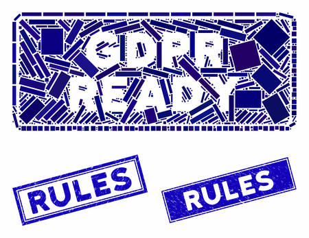 Mosaic GDPR Ready rounded rectangle pictogram and rectangular Rules seals. Flat vector GDPR Ready rounded rectangle mosaic pictogram of random rotated rectangular elements.