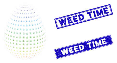Mosaic abstract cannabis egg pictogram and rectangular Weed Time stamps. Flat vector abstract cannabis egg mosaic pictogram of scattered rotated rectangular items.