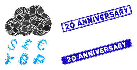 Mosaic money rain icon and rectangle 20 Anniversary rubber prints. Flat vector money rain mosaic icon of scattered rotated rectangle items. Blue 20 Anniversary rubber stamps with grunged textures.