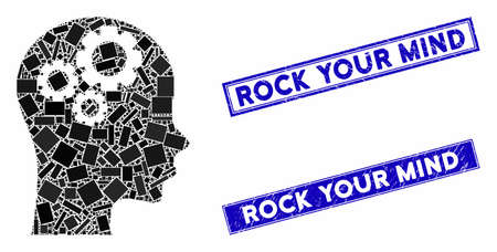 Mosaic thinking pictogram and rectangular Rock Your Mind watermarks. Flat vector thinking mosaic pictogram of scattered rotated rectangular elements.