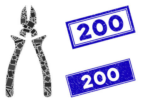 Mosaic nippers icon and rectangle 200 rubber prints. Flat vector nippers mosaic icon of scattered rotated rectangular elements. Blue 200 rubber stamps with grunged surface.