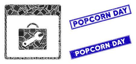 Mosaic toolbox calendar page pictogram and rectangular Popcorn Day seals. Flat vector toolbox calendar page mosaic pictogram of random rotated rectangular elements.