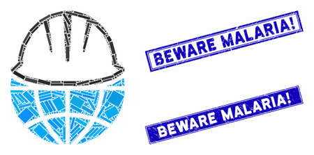 Mosaic global helmet icon and rectangular Beware Malaria! seal stamps. Flat vector global helmet mosaic icon of scattered rotated rectangular items. Blue Beware Malaria! stamps with scratched surface.