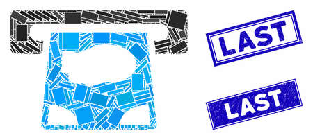 Mosaic ATM payment icon and rectangle Last rubber prints. Flat vector ATM payment mosaic icon of random rotated rectangle items. Blue Last rubber seals with scratched textures. Ilustracja