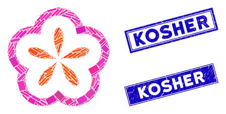 Mosaic flower pictogram and rectangular Kosher seals. Flat vector flower mosaic pictogram of scattered rotated rectangular items. Blue Kosher seals with grunge texture.