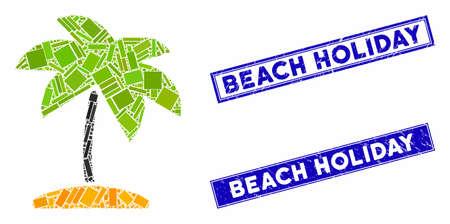 Mosaic island tropic palm icon and rectangular Beach Holiday seal stamps. Flat vector island tropic palm mosaic icon of randomized rotated rectangular items. Ilustracja