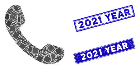 Mosaic phone receiver icon and rectangle 2021 Year stamps. Flat vector phone receiver mosaic icon of scattered rotated rectangle items. Blue 2021 Year stamps with rubber surface.