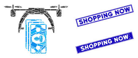 Mosaic drone payment icon and rectangle Shopping Now watermarks. Flat vector drone payment mosaic icon of random rotated rectangle elements. Blue Shopping Now watermarks with dirty textures.