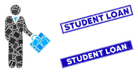 Mosaic businessman icon and rectangle Student Loan seal stamps. Flat vector businessman mosaic icon of random rotated rectangle elements. Blue Student Loan seal stamps with dirty surface.