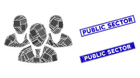 Mosaic staff icon and rectangle Public Sector seals. Flat vector staff mosaic icon of random rotated rectangle elements. Blue Public Sector seal stamps with grunged texture.