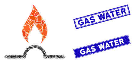 Mosaic gas flame pictogram and rectangle Gas Water watermarks. Flat vector gas flame mosaic pictogram of scattered rotated rectangle items. Blue Gas Water watermarks with distress textures. Foto de archivo - 134629015