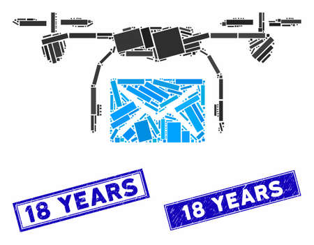 Mosaic mail delivery drone pictogram and rectangle 18 Years seal stamps. Flat vector mail delivery drone mosaic icon of random rotated rectangle elements.