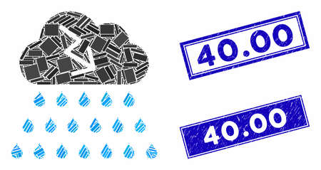 Mosaic thunderstorm rain cloud pictogram and rectangle 40.00 stamps. Flat vector thunderstorm rain cloud mosaic pictogram of random rotated rectangle items. Blue 40.00 seal stamps with rubber surface.
