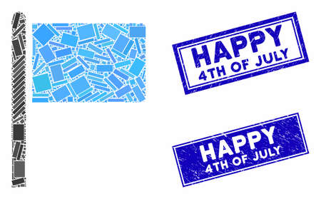 Mosaic flag pointer icon and rectangular Happy 4Th of July rubber prints. Flat vector flag pointer mosaic icon of randomized rotated rectangle elements.