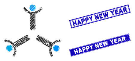Mosaic hands up men icon and rectangle Happy New Year stamps. Flat vector hands up men mosaic icon of random rotated rectangle items. Blue Happy New Year seal stamps with dirty texture.