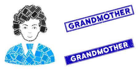 Mosaic clerk woman icon and rectangular Grandmother rubber prints. Flat vector clerk woman mosaic icon of randomized rotated rectangular items. Blue Grandmother rubber seals with distress textures.
