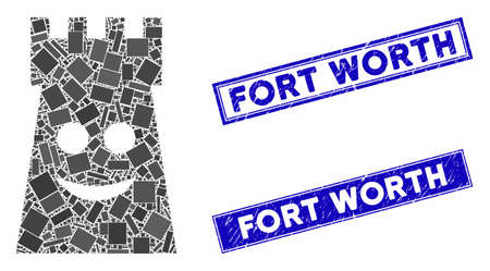 Mosaic glad fort tower icon and rectangular Fort Worth seal stamps. Flat vector glad fort tower mosaic icon of randomized rotated rectangle elements. Blue Fort Worth seal stamps with corroded texture. Ilustracja