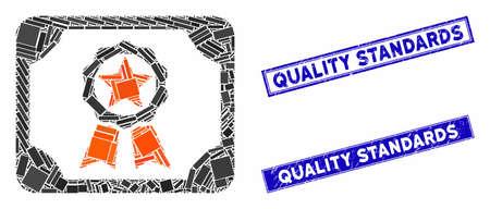 Mosaic award diploma icon and rectangular Quality Standards rubber prints. Flat vector award diploma mosaic icon of random rotated rectangle items.