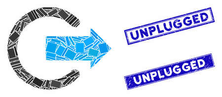 Mosaic logout icon and rectangular Unplugged stamps. Flat vector logout mosaic icon of random rotated rectangular elements. Blue Unplugged stamps with dirty surface. Иллюстрация