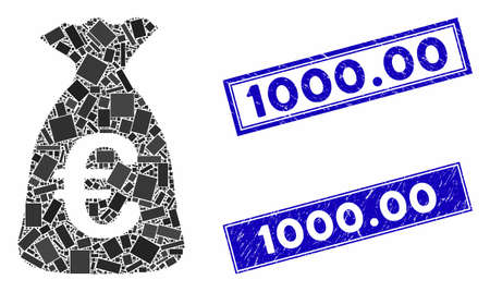 Mosaic Euro money bag icon and rectangular 1000.00 seal stamps. Flat vector Euro money bag mosaic icon of scattered rotated rectangle items. Blue 1000.00 rubber stamps with grunged texture.