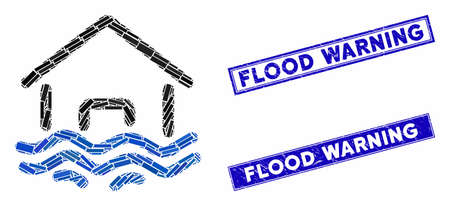 Mosaic flood disaster icon and rectangular Flood Warning seals. Flat vector flood disaster mosaic icon of randomized rotated rectangular elements. Blue Flood Warning rubber seals with dirty surface. Çizim