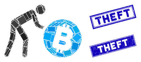 Mosaic worker roll Bitcoin icon and rectangular Theft seal stamps. Flat vector worker roll Bitcoin mosaic icon of randomized rotated rectangle items. Blue Theft seal stamps with corroded texture.