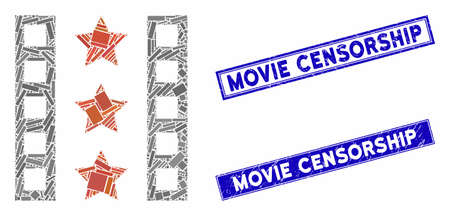 Mosaic movie trailer icon and rectangle Movie Censorship seal stamps. Flat vector movie trailer mosaic icon of random rotated rectangular items.