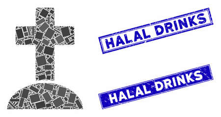 Mosaic cemetery cross pictogram and rectangle Halal Drinks watermarks. Flat vector cemetery cross mosaic pictogram of randomized rotated rectangular elements. 일러스트