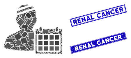 Mosaic patient appointment calendar icon and rectangular Renal Cancer rubber prints. Flat vector patient appointment calendar mosaic icon of randomized rotated rectangle elements. Stock Illustratie