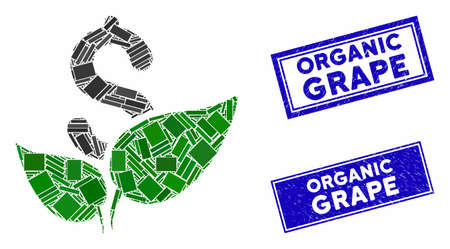 Mosaic agriculture startup pictogram and rectangle Organic Grape seal stamps. Flat vector agriculture startup mosaic pictogram of randomized rotated rectangle items.
