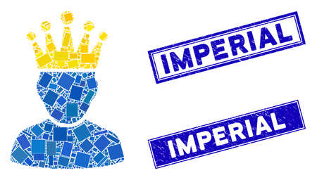 Mosaic king admin icon and rectangular Imperial rubber prints. Flat vector king admin mosaic icon of randomized rotated rectangular elements. Blue Imperial rubber seals with distress texture. Ilustração