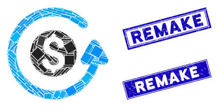 Mosaic refund pictogram and rectangular Remake seal stamps. Flat vector refund mosaic icon of scattered rotated rectangular elements. Blue Remake seal stamps with rubber surface.