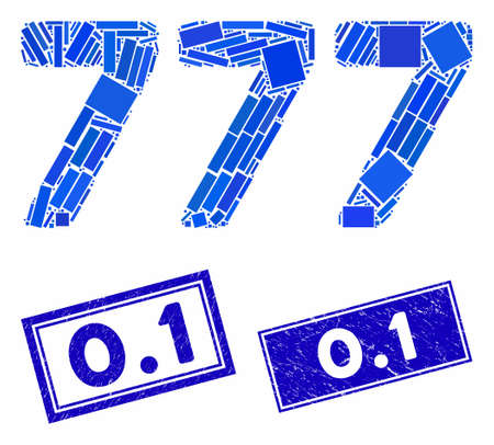 Mosaic 777 digits text icon and rectangle 0.1 stamps. Flat vector 777 digits text mosaic icon of randomized rotated rectangle elements. Blue 0.1 rubber stamps with distress textures. Illustration