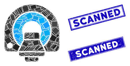 Mosaic MRI equipment pictogram and rectangular Scanned seals. Flat vector MRI equipment mosaic icon of randomized rotated rectangular items. Blue Scanned rubber seals with grunge textures. Zdjęcie Seryjne - 134399961