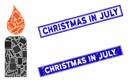 Mosaic candle pictogram and rectangular Christmas in July seals. Flat vector candle mosaic pictogram of random rotated rectangular items. Blue Christmas in July watermarks with corroded texture. Foto de archivo - 134399971